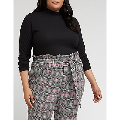 Plus Size Mock Neck Ribbed Top