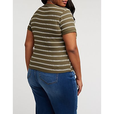 Plus Size Striped Ribbed Ringer Tee