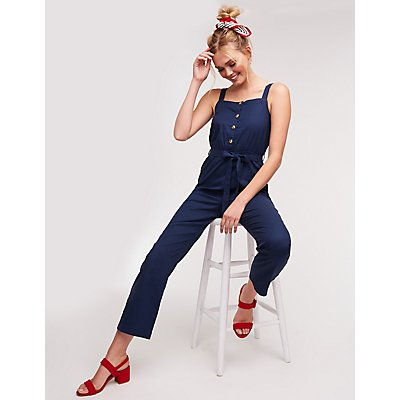 Button Up Tie Front Jumpsuit