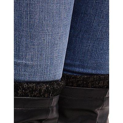 Wide Faux Leather & Knit Trim Boots