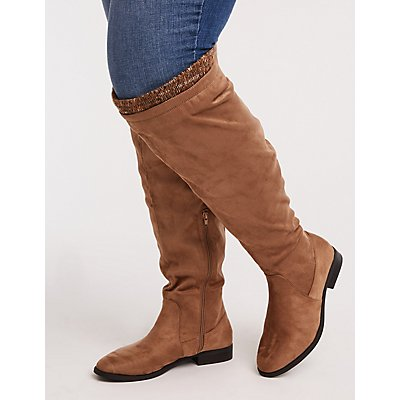 Wide Faux Leather & Knit Trim Boots