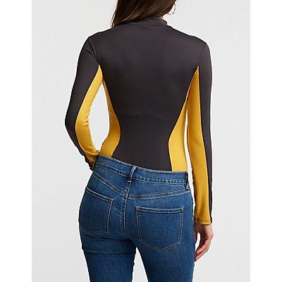 Colorblock Mock Neck Bodysuit