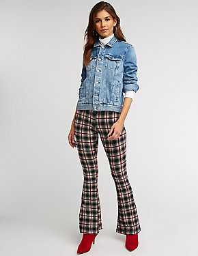 Plaid Knit Flared Pants