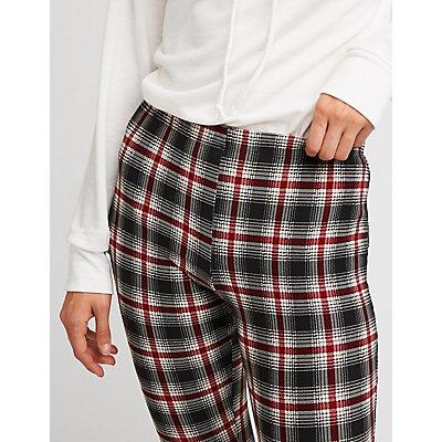Plaid Knit Flared Pants