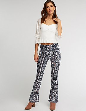 Paisley Knit Flared Pants