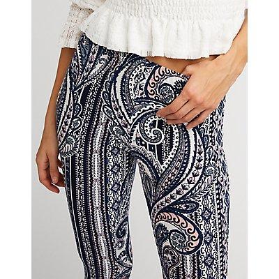 Paisley Knit Flared Pants