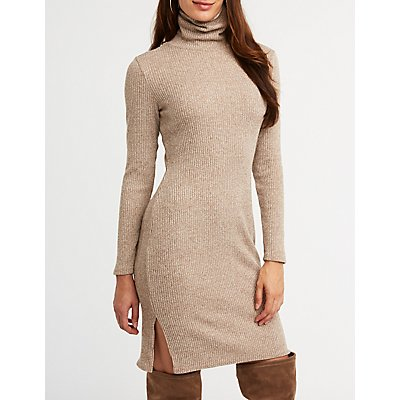 Turtleneck Sweater Midi Dress