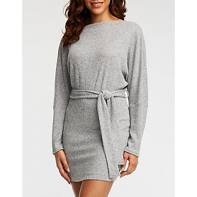 Surplice Back Ribbed Dolman Dress