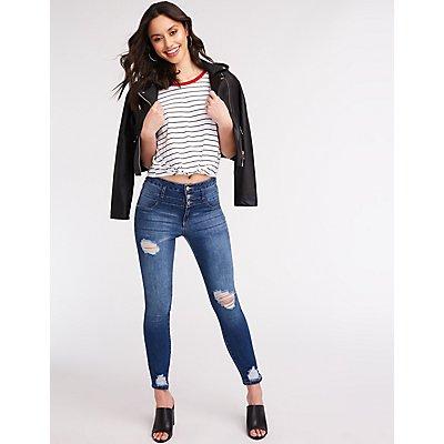 Refuge Hi Waist Destroyed Skinny Jeans