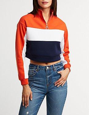 Color Block Zip Up Sweatshirt