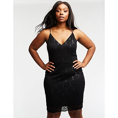 Plus Size Sequin & Lace Bodycon Dress
