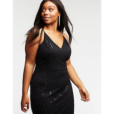 Plus Size Sequin & Lace Bodycon Dress