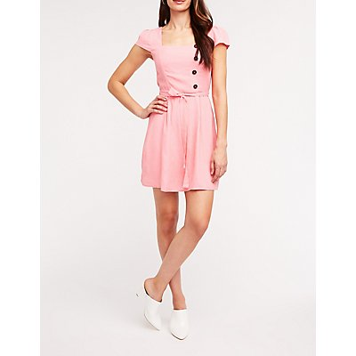 Square Neck Tie Front Dress