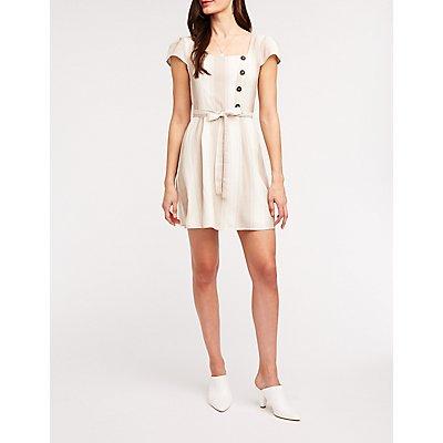 Striped Asymmetric Button Skater Dress