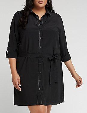 Plus Size Button Front Self Tie Shirt Dress