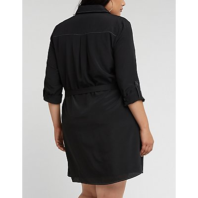 Plus Size Button Front Self Tie Shirt Dress