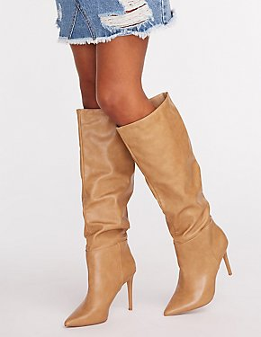 Faux Leather Slouchy Boots