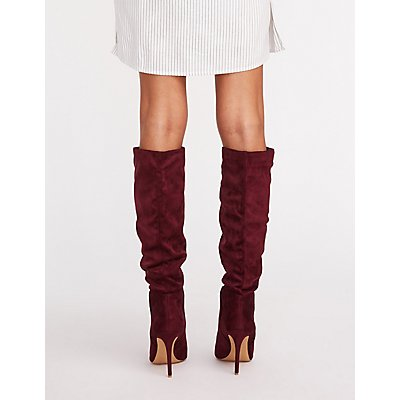 Faux Suede Slouchy Boots