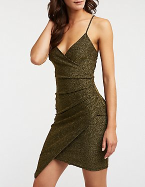 Ruched Glitter Bodycon Dress