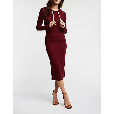 Ribbed Knit Hooded Bodycon Dress