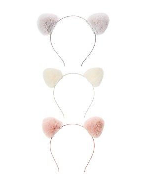 Faux Fur Cat Ears Headband - 3 Pack