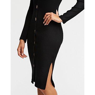 V Neck Ribbed Midi Dress