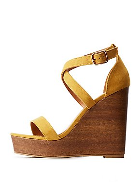 Crisscross Wood Wedge Sandals