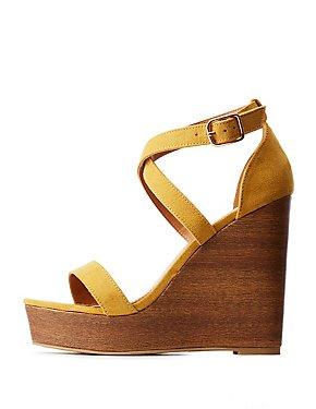 Crisscross Wood Wedge Sandals