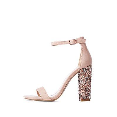 Crystal Heel Ankle Strap Sandals