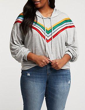 Plus Size Chevron Hooded Sweater