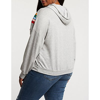 Plus Size Chevron Hooded Sweater