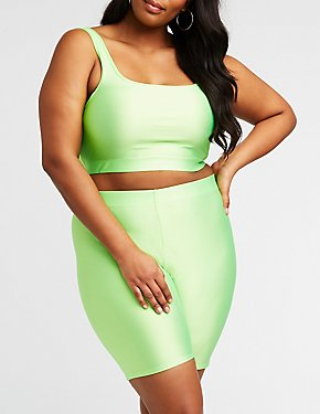 Plus Size Shiny Crop Top