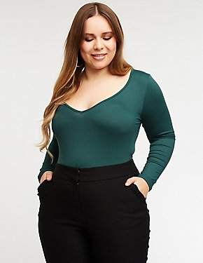 Plus Size V Neck Bodysuit