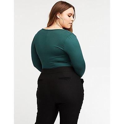 Plus Size V Neck Bodysuit