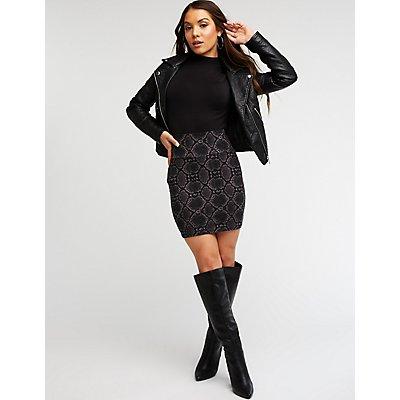 Snakeskin Print Bodycon Mini Skirt