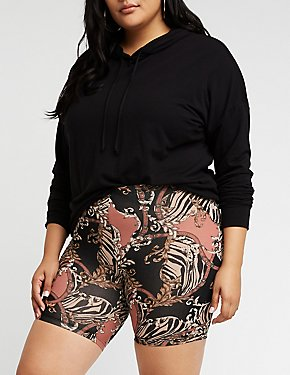 Plus Size Status Print Bike Shorts