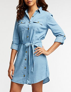 Chambray Button Up Shirt Dress