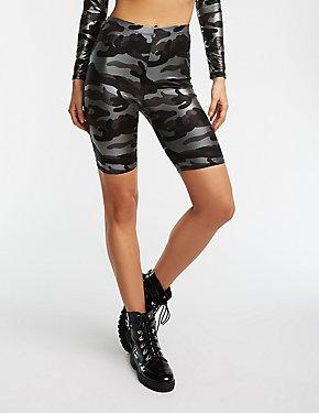 Camo Foil Print Bike Shorts