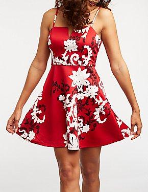 Floral V Wire Skater Dress