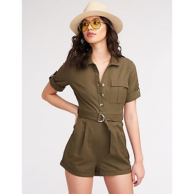 Button Up Belted Romper