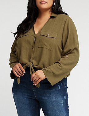 Plus Size Button Up Tie Front Blouse