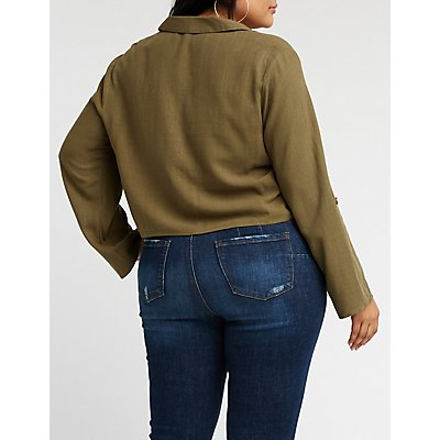 Plus Size Button Up Tie Front Blouse