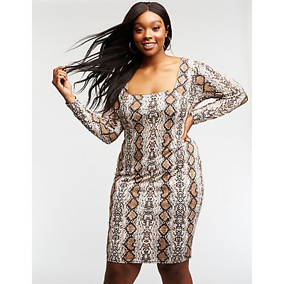 Plus Size Faux Snakeskin Bodycon Dress