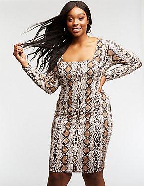 Plus Size Faux Snakeskin Bodycon Dress