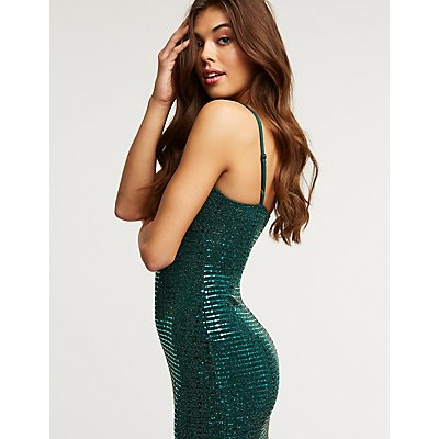 Metallic Twist Front Bodycon Dress
