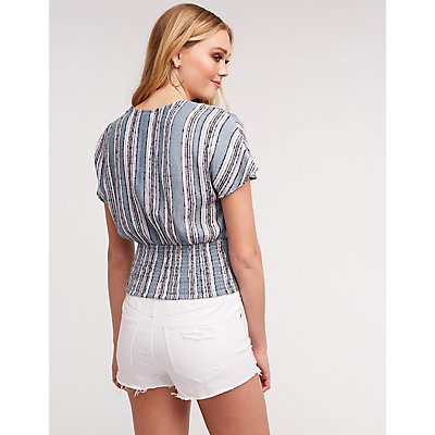 Striped Button Up Blouse by Charlotte Russe