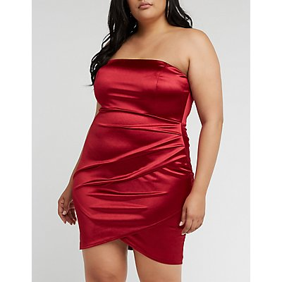 Plus Size Satin Wrap Mini Dress