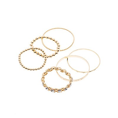 Crystal & Beaded Bangles - 5 Pack
