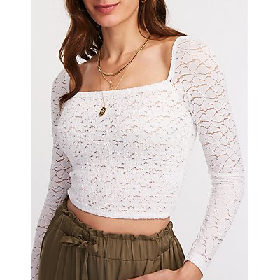 Smocked Lace Square Neck Top