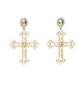 Crystal Cross Drop Earrings